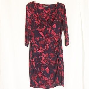 Ralph Lauren Red 3/4 Sleeve Ruched. Dress Size 16